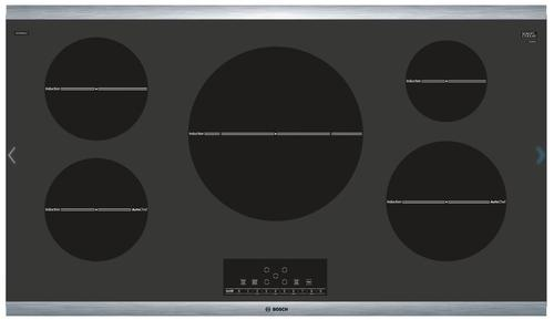 "Bosch 800 Series 36"" Induction Cooktop Black with Stainless Steel Strips NIT8668SUC"